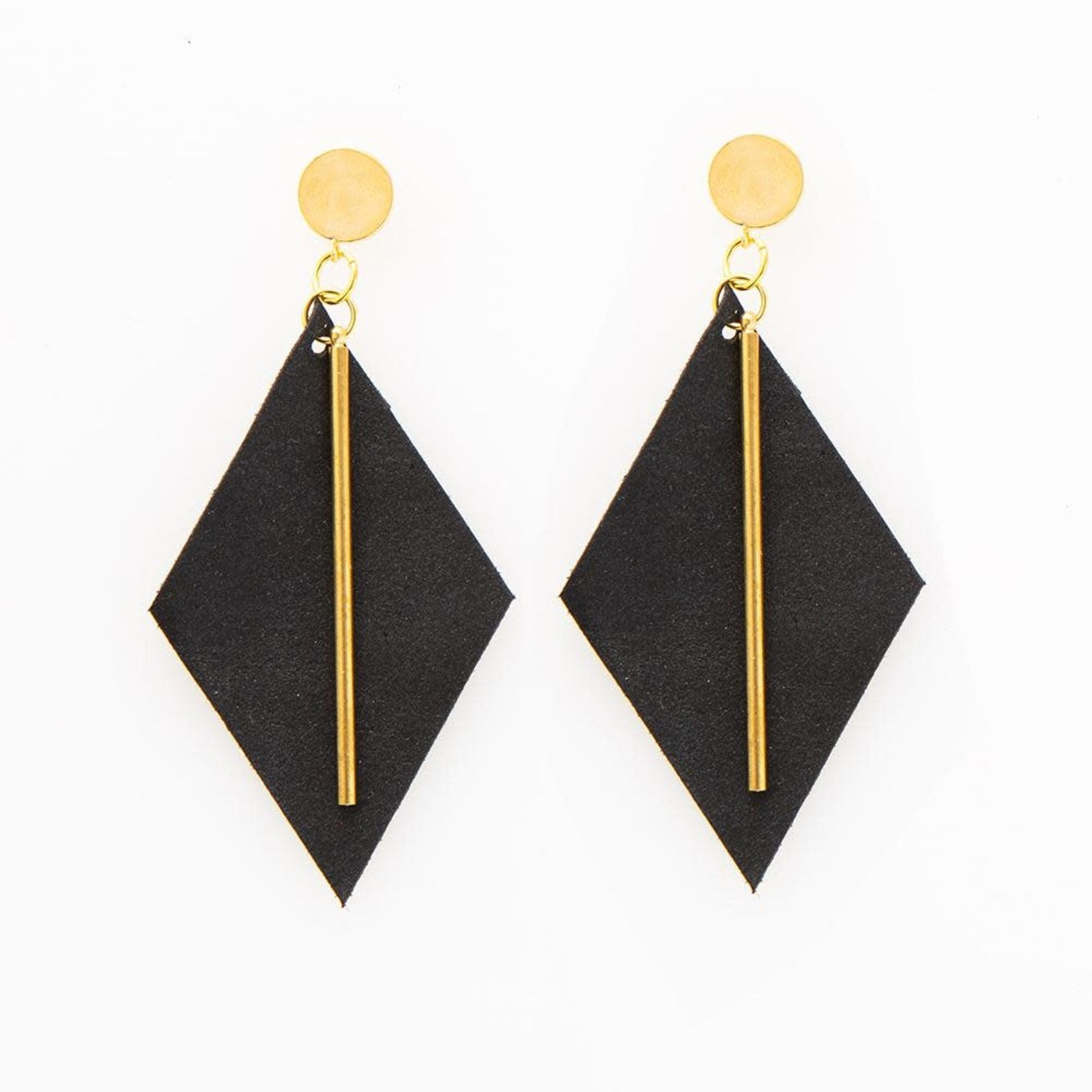 INK + ALLOY Black Diamond Leather Earring