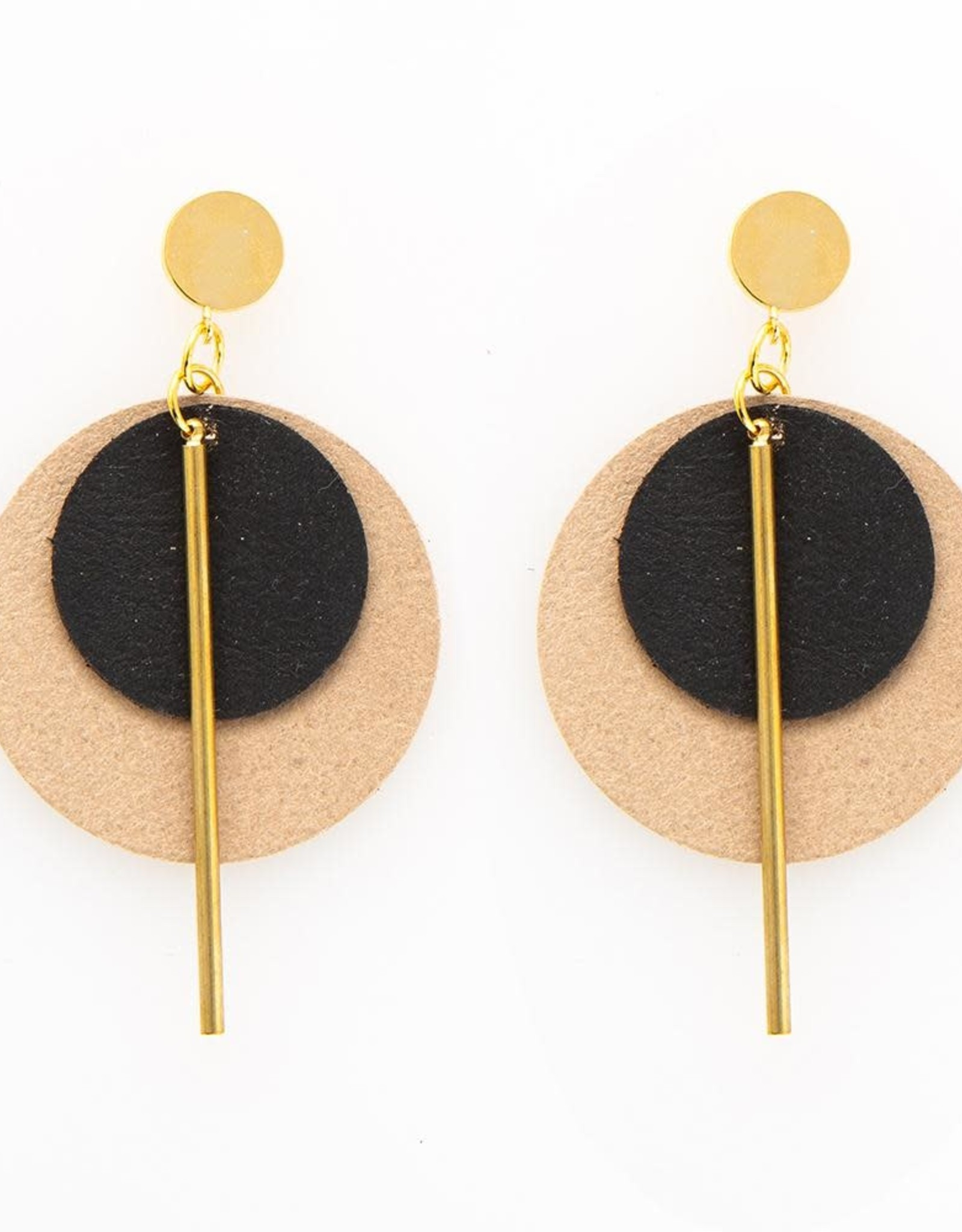 INK + ALLOY Taupe And Black Double Circle Leather Earring