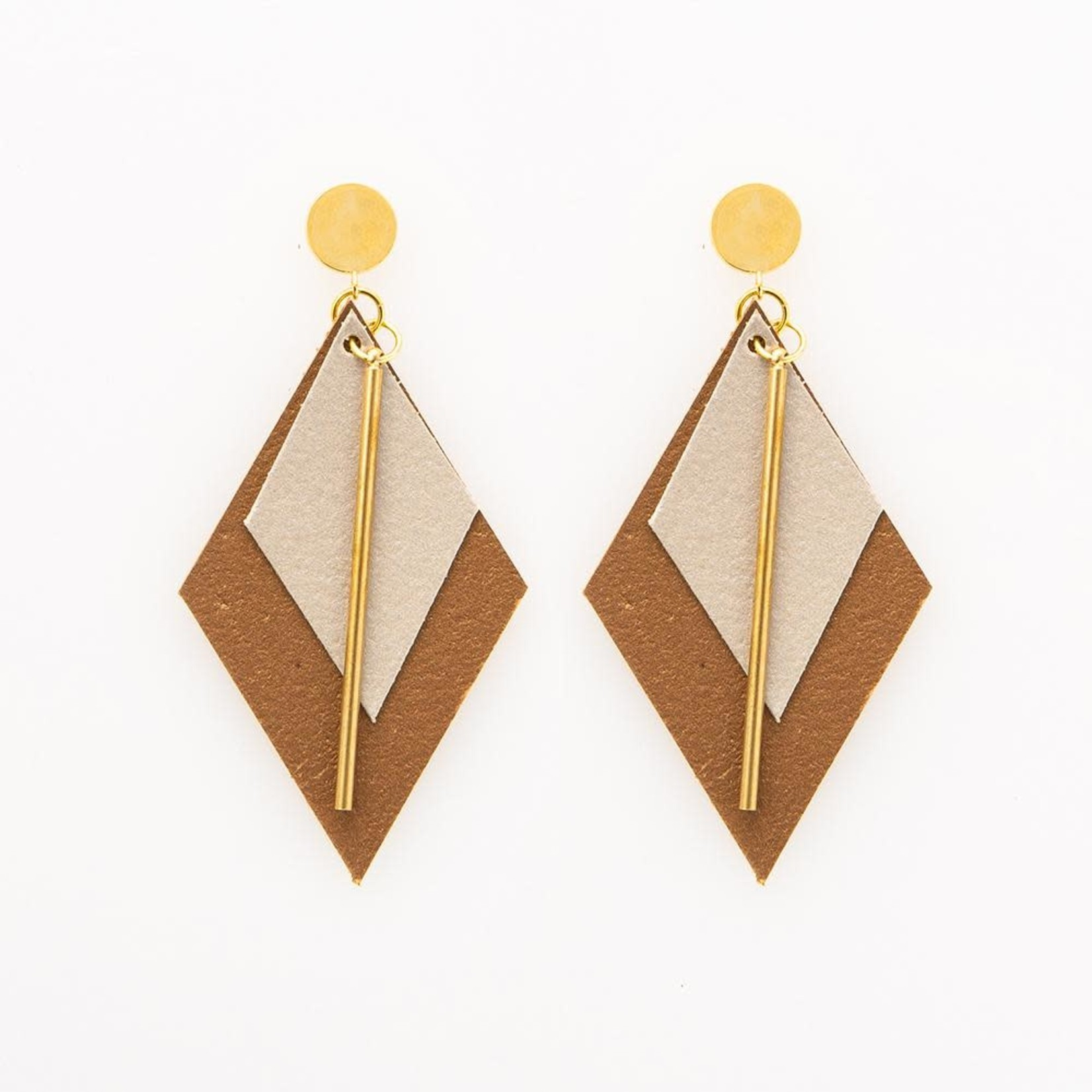 INK + ALLOY Champagne And Bronze Diamond Leather Earring