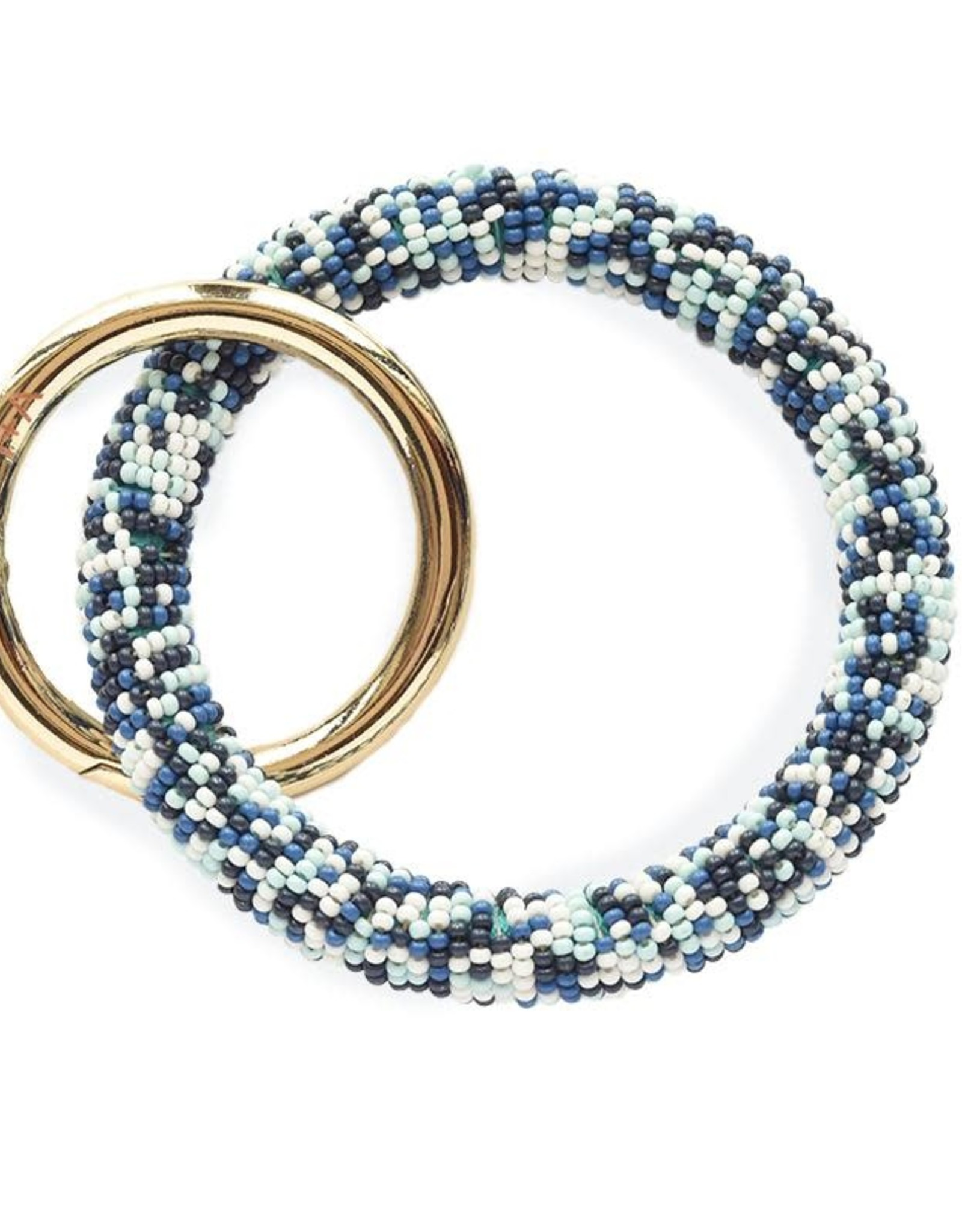 INK + ALLOY Blue Multi Seed Bead Key Ring