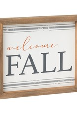 Welcome Fall Striped Framed Sign