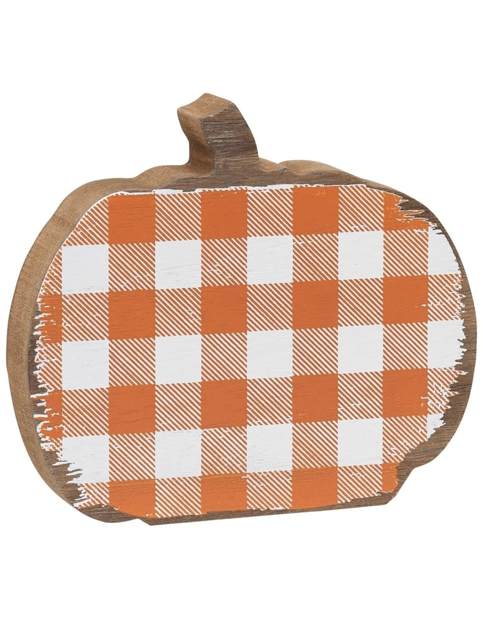 Orange Check Wood Pumpkin