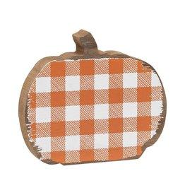 Orange Check Wood Pumpkin