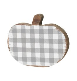 Grey/White Check Wood Pumpkin