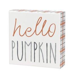 Hello Pumpkin Plaid Box Sign