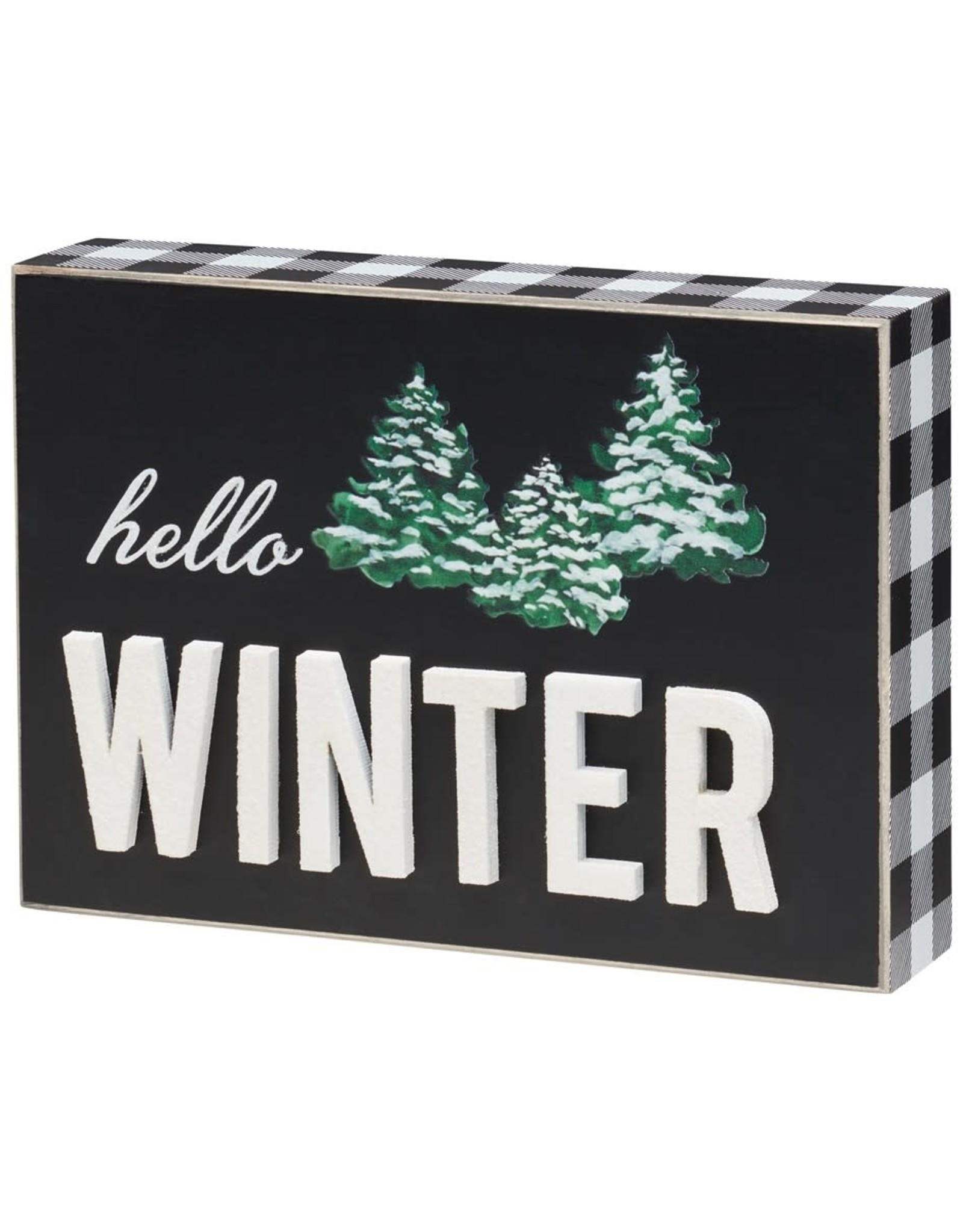 Winter 3D Glitter Box Sign