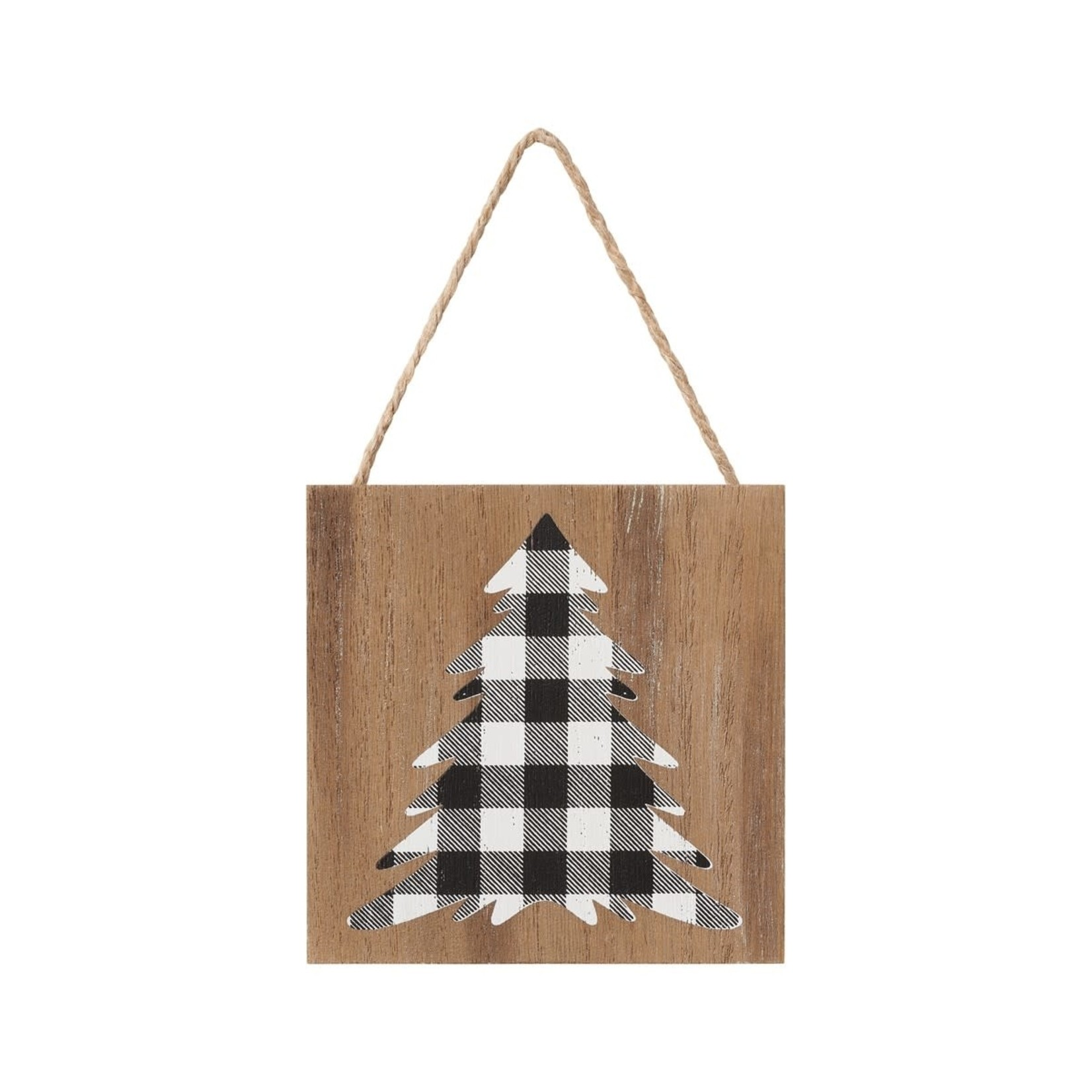 Collins Painting BW Check Tree Wood Ornie