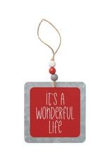 Wonderful Life Beaded Tin Ornie