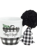 Merry BW Truck Mug Set w/ Ornie