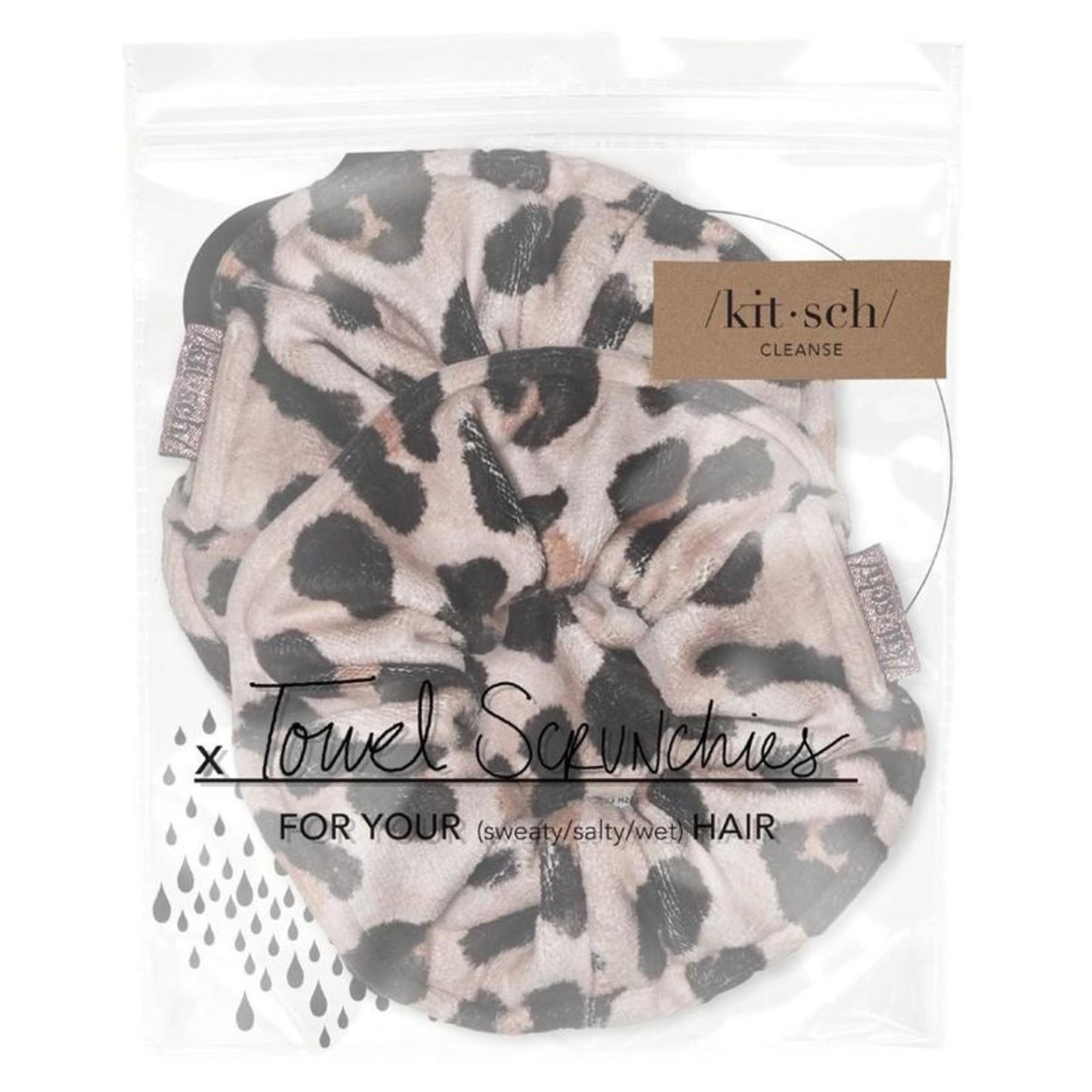 /KIT•SCH/ Microfiber Towel Scrunchies - Leopard