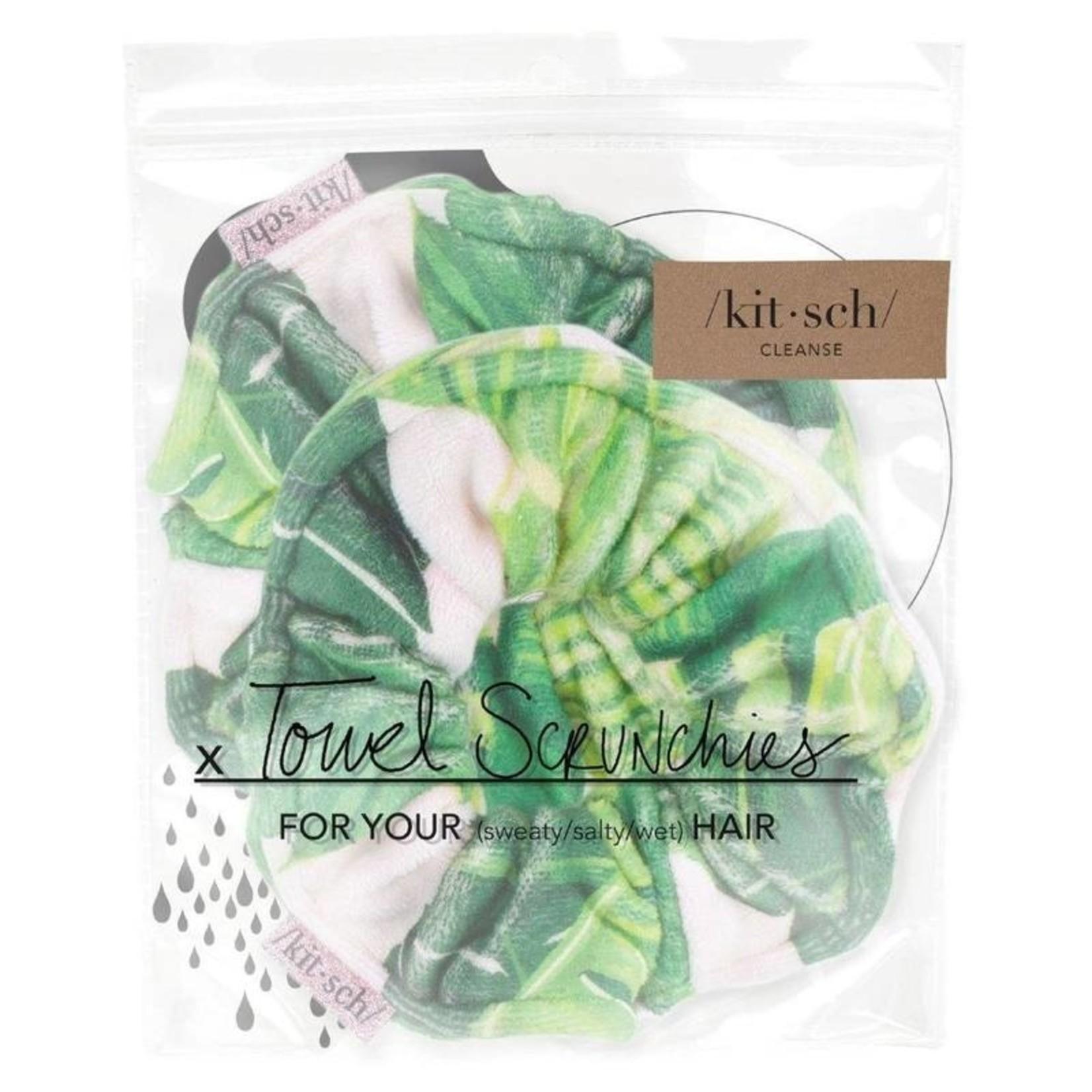 /KIT•SCH/ Microfiber Towel Scrunchies - Palm Print
