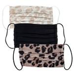 /KIT•SCH/ Cotton Face Mask 3pc Set - Leopard
