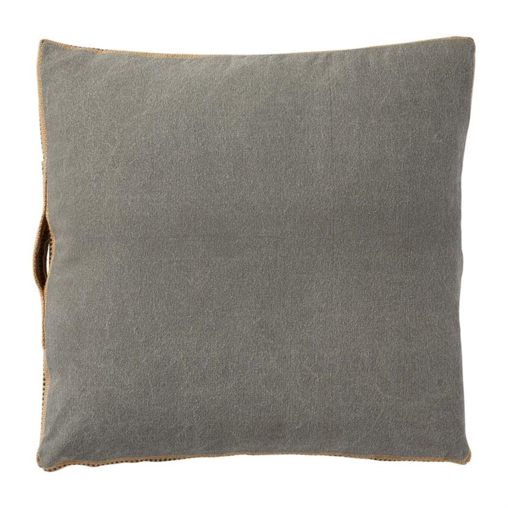 Mud Pie Gray Jute Webbing Pillow