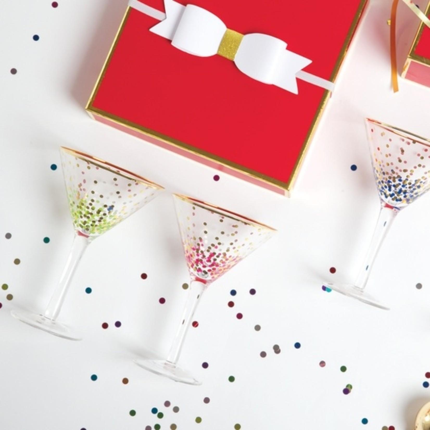 8 Oak Lane Martini Glass - Green Confetti