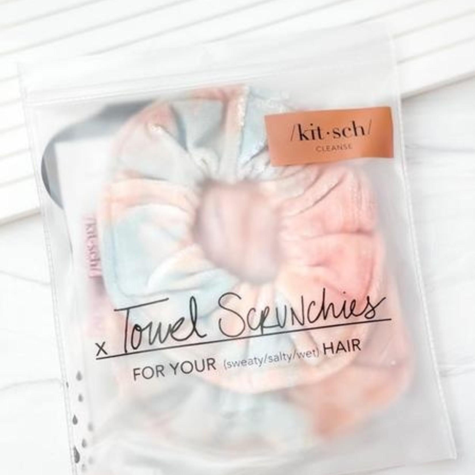 /KIT•SCH/ Microfiber Towel Scrunchies - Sunset Tie Dye
