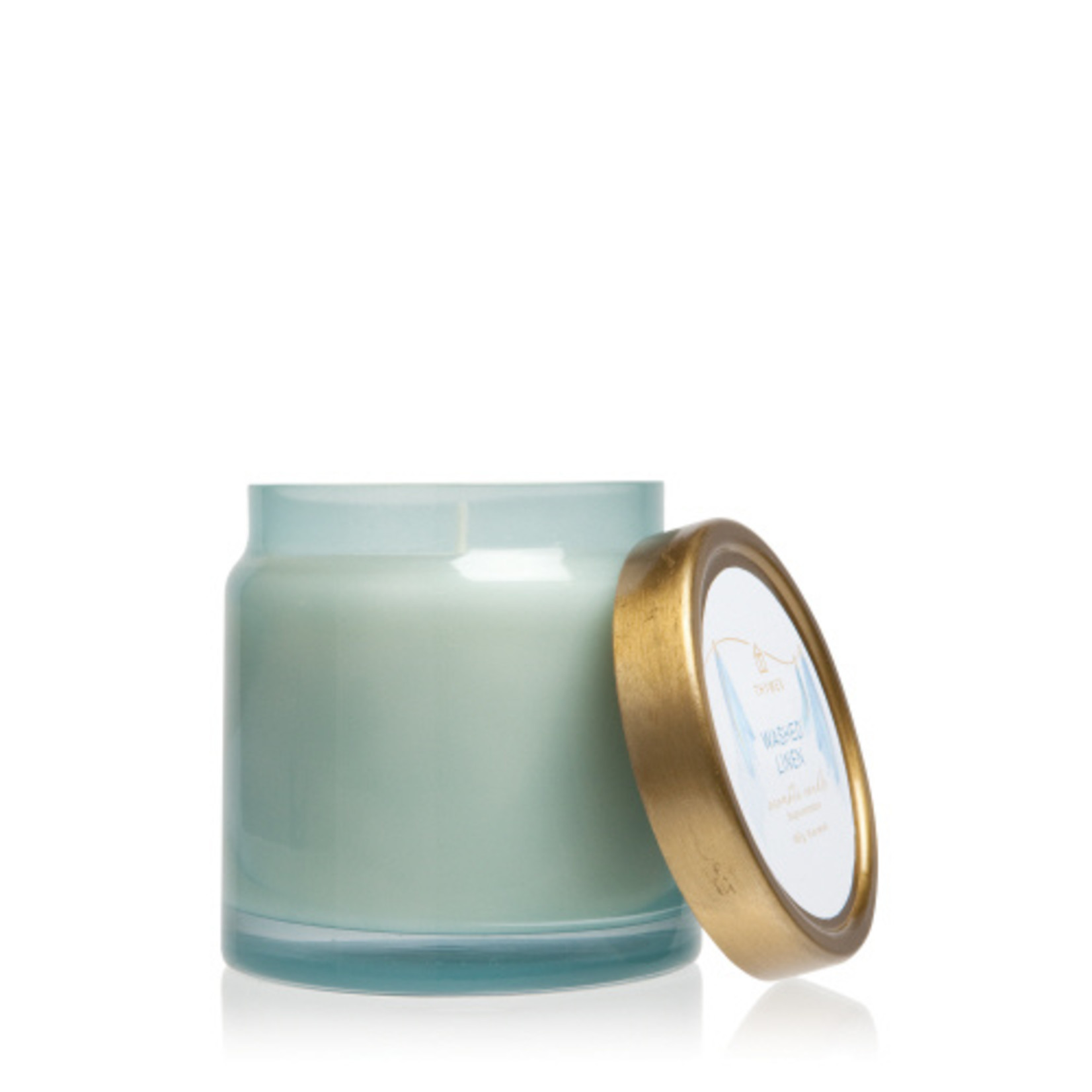 Thymes Washed Linen Glass Candle Jar