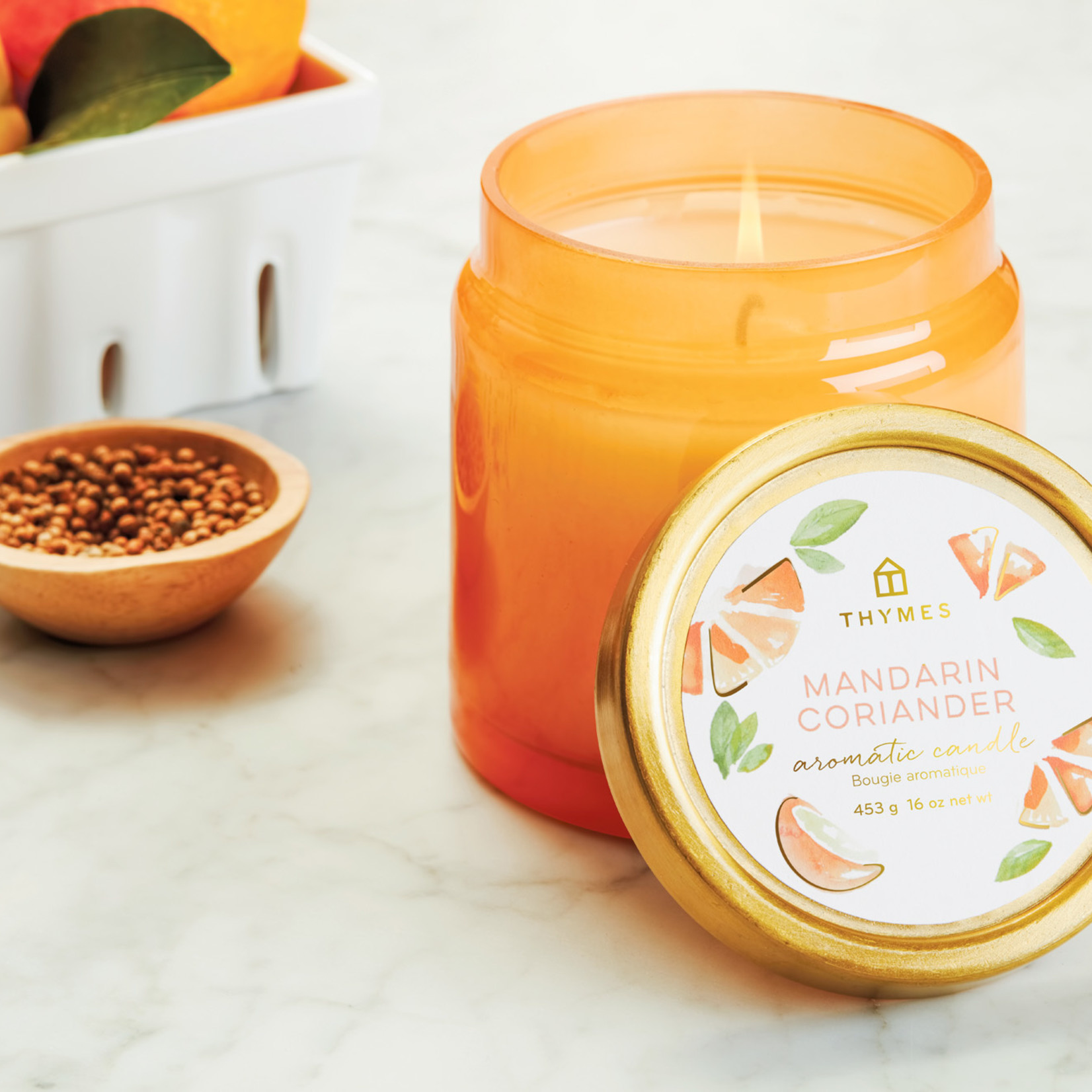 Thymes Mandarin Coriander Glass Candle Jar