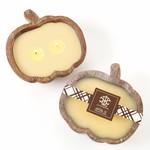 LUX Fragrances Fall Chai Tea Wooden Pumpkin Bowl Candle