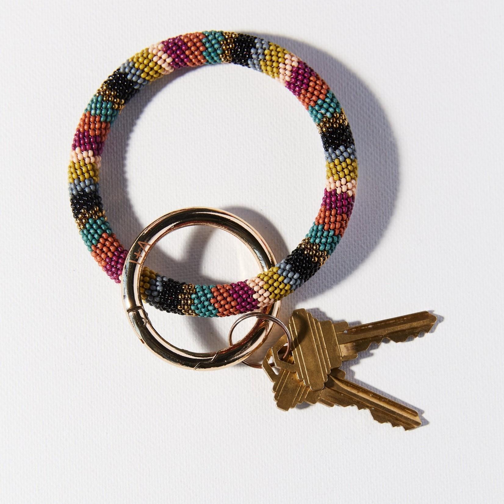 INK + ALLOY Stripe Seed Bead Key Ring