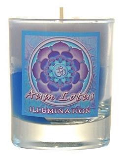 VOTIVE CANDLE IN GLASS -  AUM LOTUS ILLUMINATION
