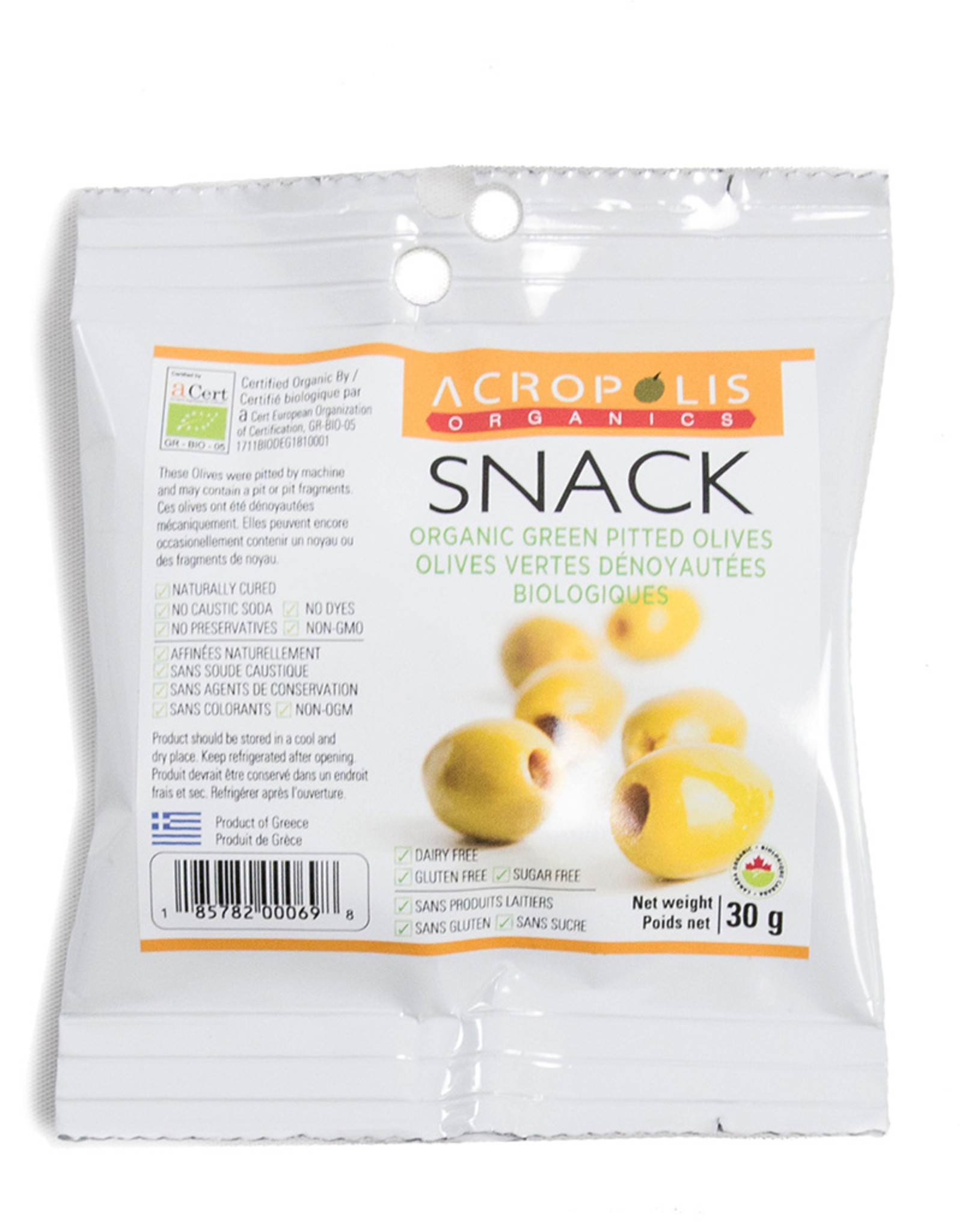 Acropolis Organics Acropolis - Organic Green Pitted Olives, Snack (30g)