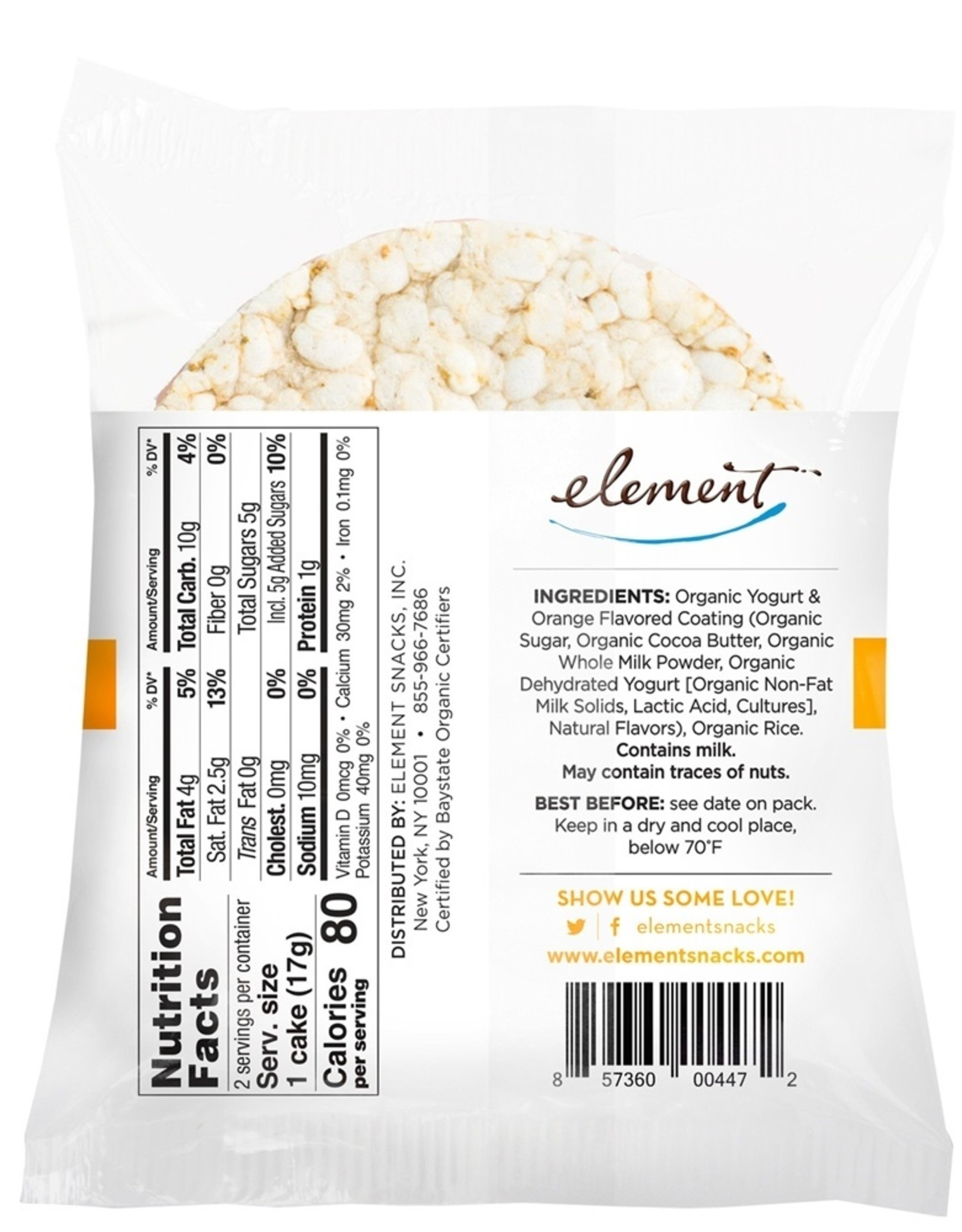 Element Element - Dipped Rice Cakes, Vanilla Orange (34g)