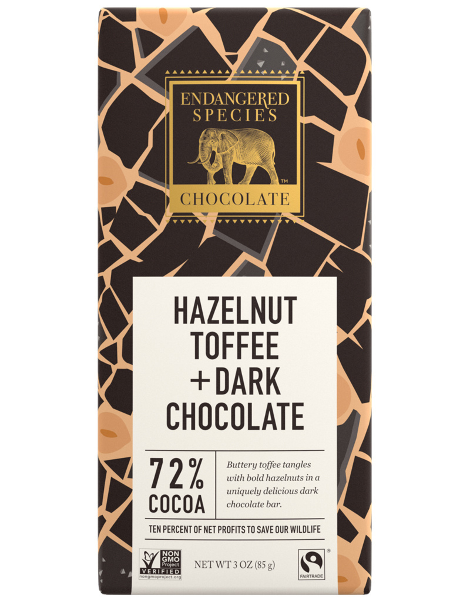 Endangered Species Endangered Species - Dark Chocolate Bar, Rhino with Hazelnut Toffee