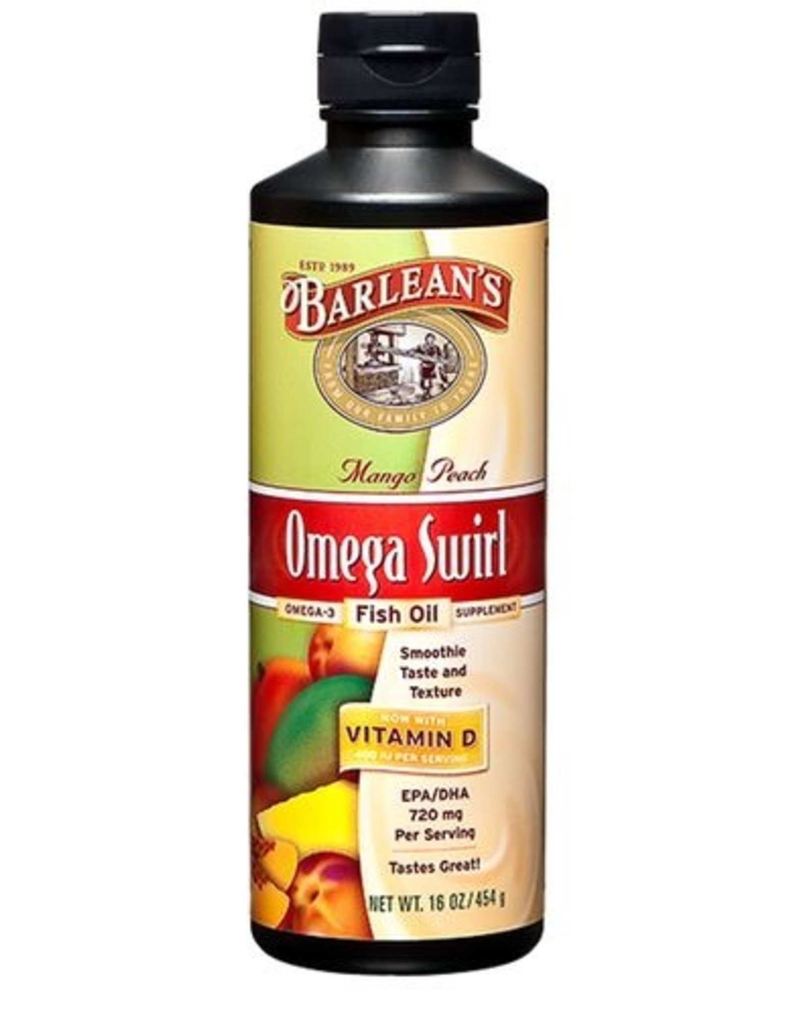 Barlean's Barleans - Omega-3 Fish Oil + D3, Mango & Peach Smoothie (454ml)