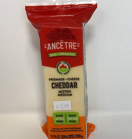 L'Ancetre LAncetre - Organic Raw Unpasturized Cheese, Medium Cheddar (200g)