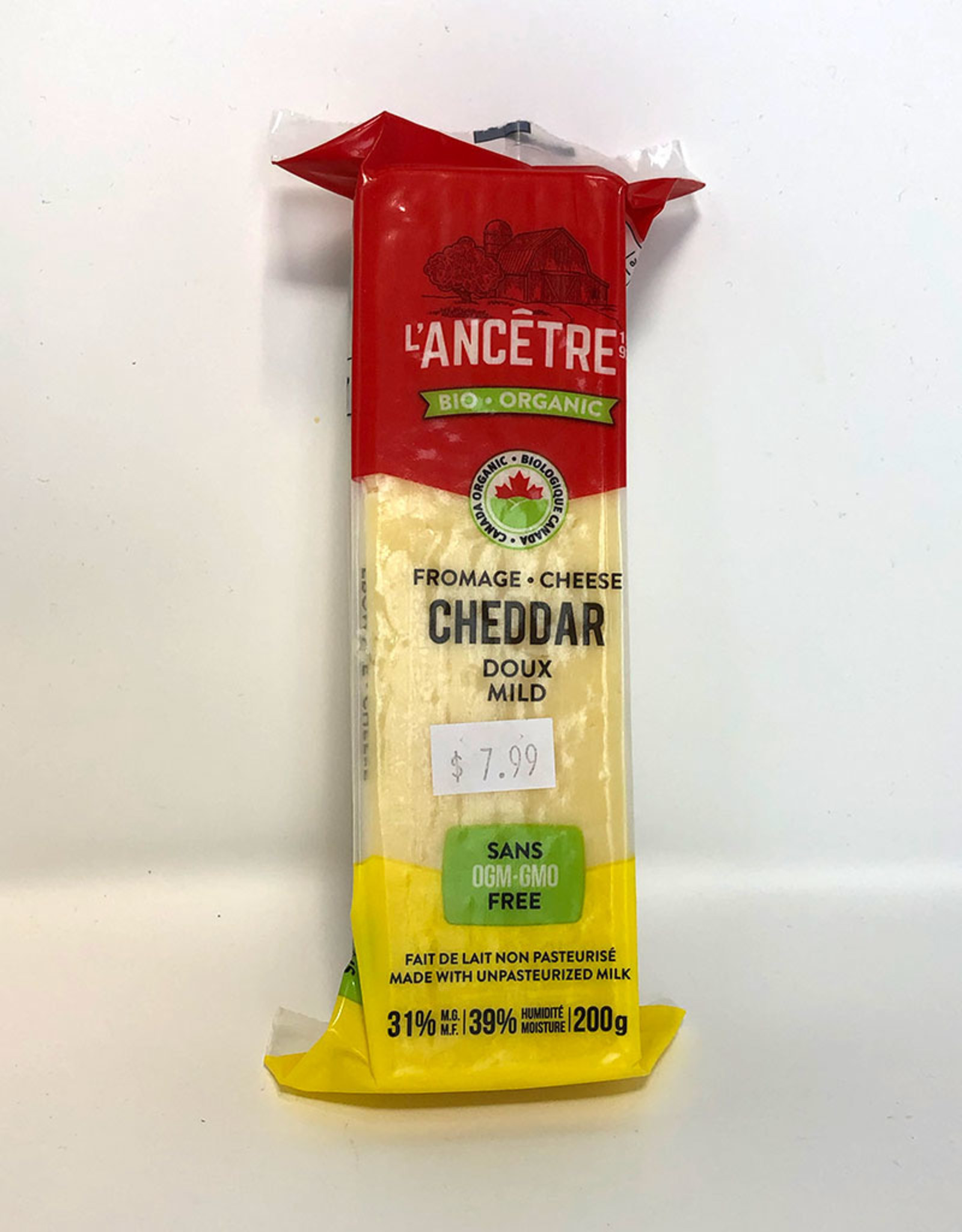 L'Ancetre LAncetre - Organic Raw Unpasturized Cheese, Mild Cheddar (200g)