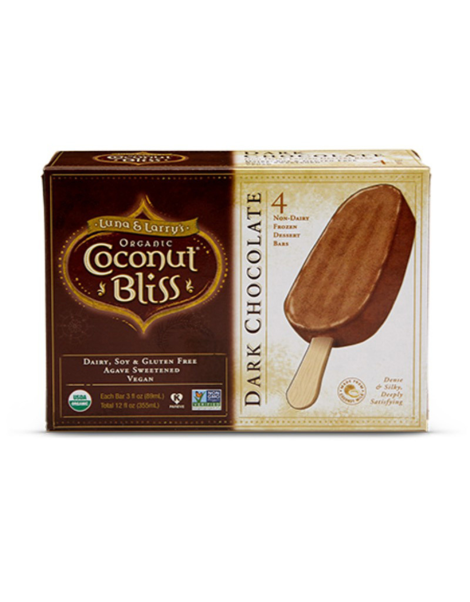 Coconut Bliss Coconut Bliss - Ice Cream Bars, Dark Chocolate (Box of 4)