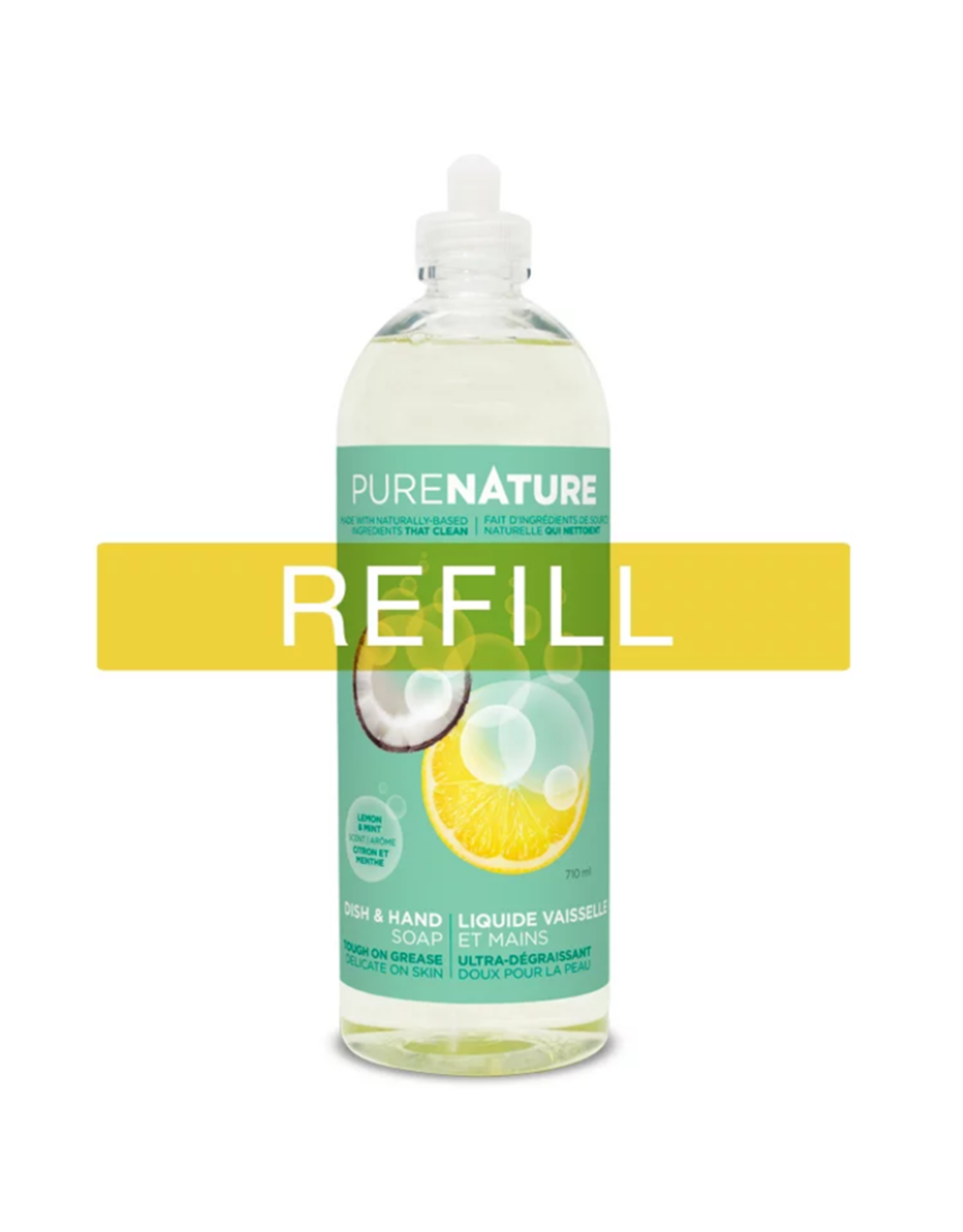 Purenature Purenature - Dish & Hand Liquid, Lemon & Mint - REFILL