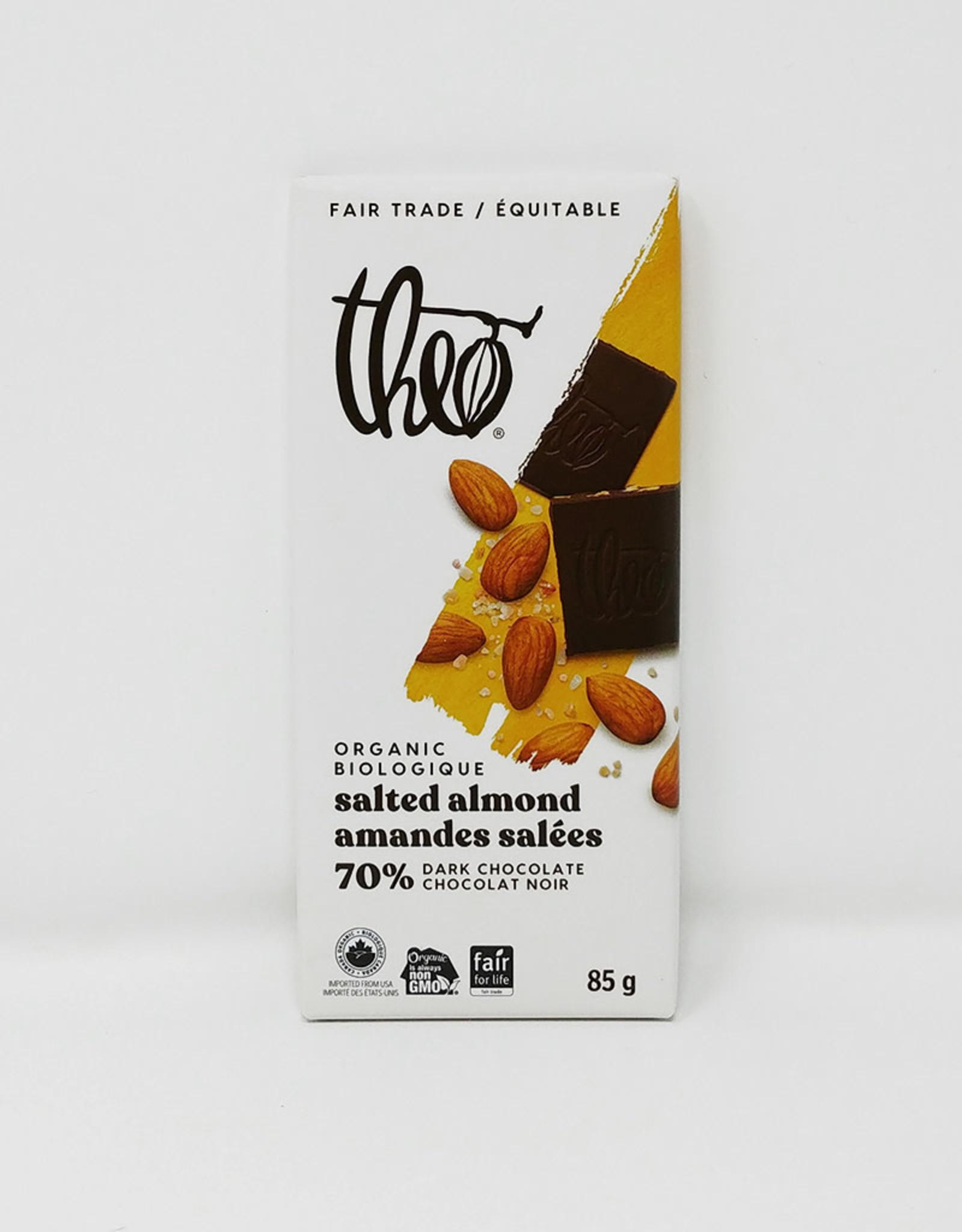 Theo Theo - Organic Chocolate Bars, Salted Almond 70%