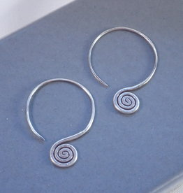 Tiger Mountain Hook Hoop with Spiral Earring Sterling Silver