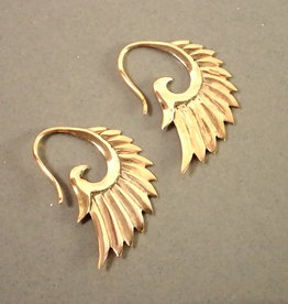 Tiger Mountain Phoenix Wing Earrings in Polished Brass