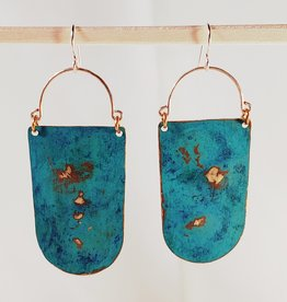 Amaree and Reese Cleo Shield Earrings with Verdigris Patina