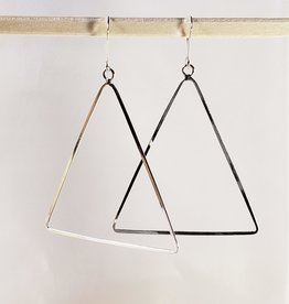 Sterling silver Triangle shaped flat wire earring.