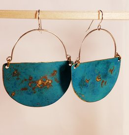 Amaree and Reese Lasercut Brass Kai Shield Earrings with Verdigris Patina