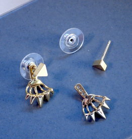 Mishakaudi Vuda Earrings, triangle post with Spiked Ear Jacket