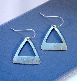 Amaree and Reese Lasercut Textured Brass Triangular Earrings - 1 1/2""