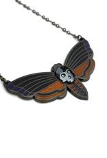 Amar & Riley Atropos Necklace,  Moth w/ Swarovski Crystal Skull - Amar&Riley