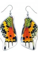 Asana Natural Arts Sunset Moth Bottom Wing Earrings, Resin Coated - Asana Natural Arts
