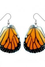 Asana Natural Arts Monarch Butterfly Upper Wing Earrings, Resin - Asana Natural Arts