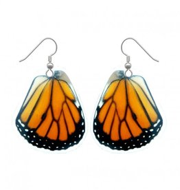 Asana Natural Arts Monarch Butterfly Upper Wing Earrings, Resin - Asana Natural Arts