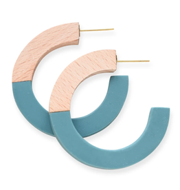 "2"" Wood and Teal Resin Hoop Earrings - INK+ALLOY"