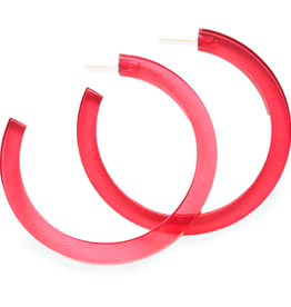 "Ink + Alloy 2.75"" Lucite Hoop Earrings, Hot Pink - INK+ALLOY"
