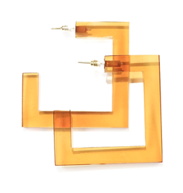 "2.25"" Square Lucite Hoop Earring, Amber - INK+ALLOY"