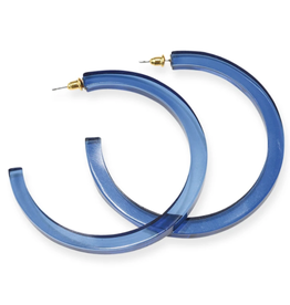 "2.75"" Lucite Hoop Earrings, Lapis - INK+ALLOY"