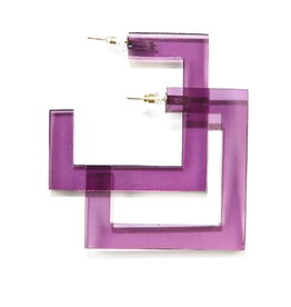 "2.25"" Square Lucite Hoop Earring, Eggplant - INK+ALLOY"