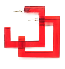 "Ink + Alloy 2.25"" Square Lucite Hoop Earring, Red - INK+ALLOY"